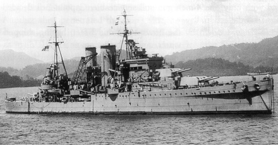HMS Exeter anchored of Sumatra, Indonesia, February 1942