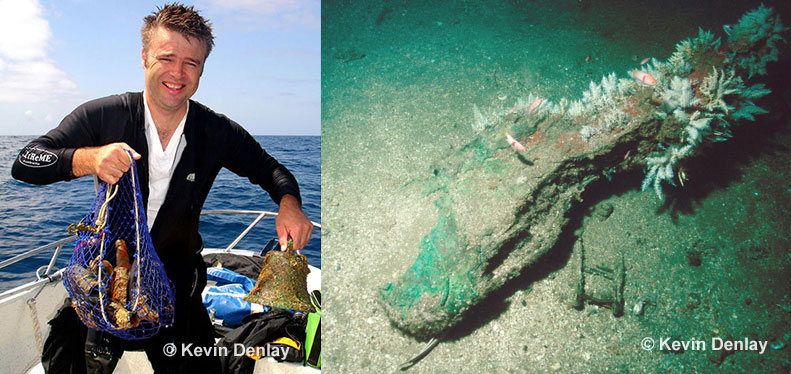 Right; the remains of the cooper sheathed wooden rudder on what is believed to be the Brig Missie. Almost none of her hull protrudes above the seabed. Left; Ian Eberhardt with the bell and other artefacts recovered from the wreck site in the hope of positively identifying the ship