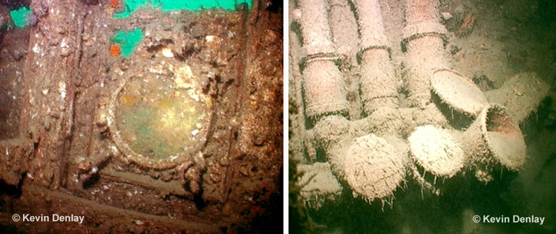 Left; interior view of a porthole on HIJMS Haguro. Notice the Malacca Strait's green coloured water outside through the holes in the corroded superstructure at top. Right; silt covered voice communication pipes inside the radio room on Haguro
