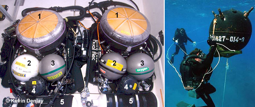 Left: Two Mk15.5 closed circuit rebreathers after a dive. 1) The large circular Co2 remover (commonly called a 'scrubber'), inside which is approximately 4.5 kg / 10 lbs of Co2 absorbent granules. Note the condensed moisture from the diver's exhaled breath adhering to the clear Lexan cover. 2) The spherical cylinder that contains either air or mixed gas (generally trimix), depending on the depth of the dive. 3) The spherical cylinder that contains pure (100%) oxygen, NOTE: The white sphere is made of steel, while the three grey ones are made of a non-magnetic material called Inconel. 4) The pod that houses the electronic controller for adjusting the oxygen 'set-point', which then controls the PPo2 (Partial Pressure of Oxygen) throughout the dive. 5) A 1150 litre / 40 cubic foot (when filled to 230 bar / 3380 psi respectively) steel scuba cylinder attached to the base of the CCR for both emergency off board 'bail-out' gas, and other uses (i.e. inflating a buoyancy control device, or BCD, or dry-suit inflation). Right: A military diver defusing a mine wearing a Mk16 CCR, an almost exact but a later variant than Kevin's Mk15.5. These units were built primarily for underwater EOD (Explosive Ordinance Demolition) work, hence the need for the unit, when in military hands, to be totally non-magnetic. Obviously recreational divers do not need this 'feature', hence the use of various steel parts as seen on civilian units. And no, Kevin was never in the military!