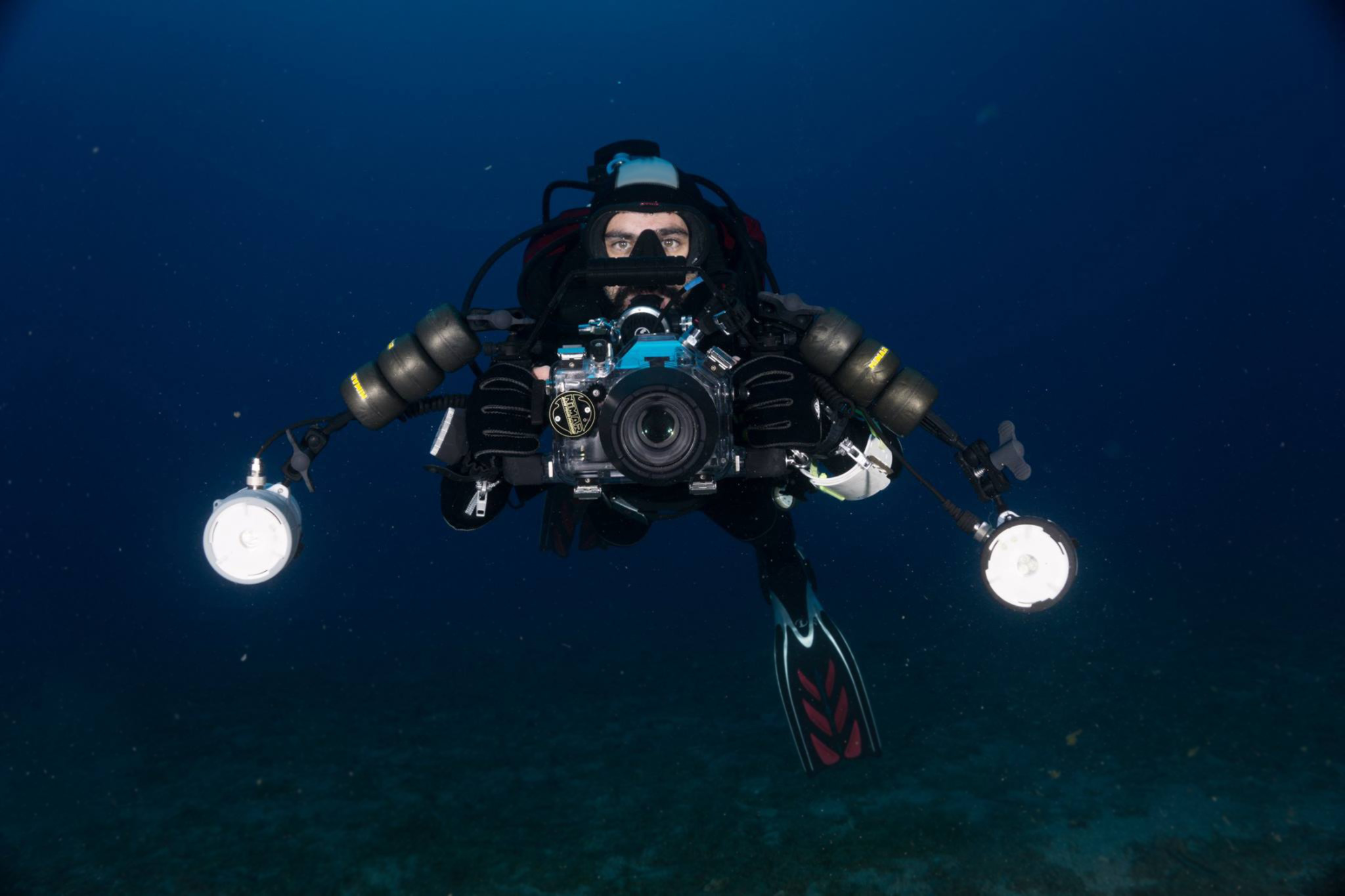 Philippos Marakis with his underwater photography equipment