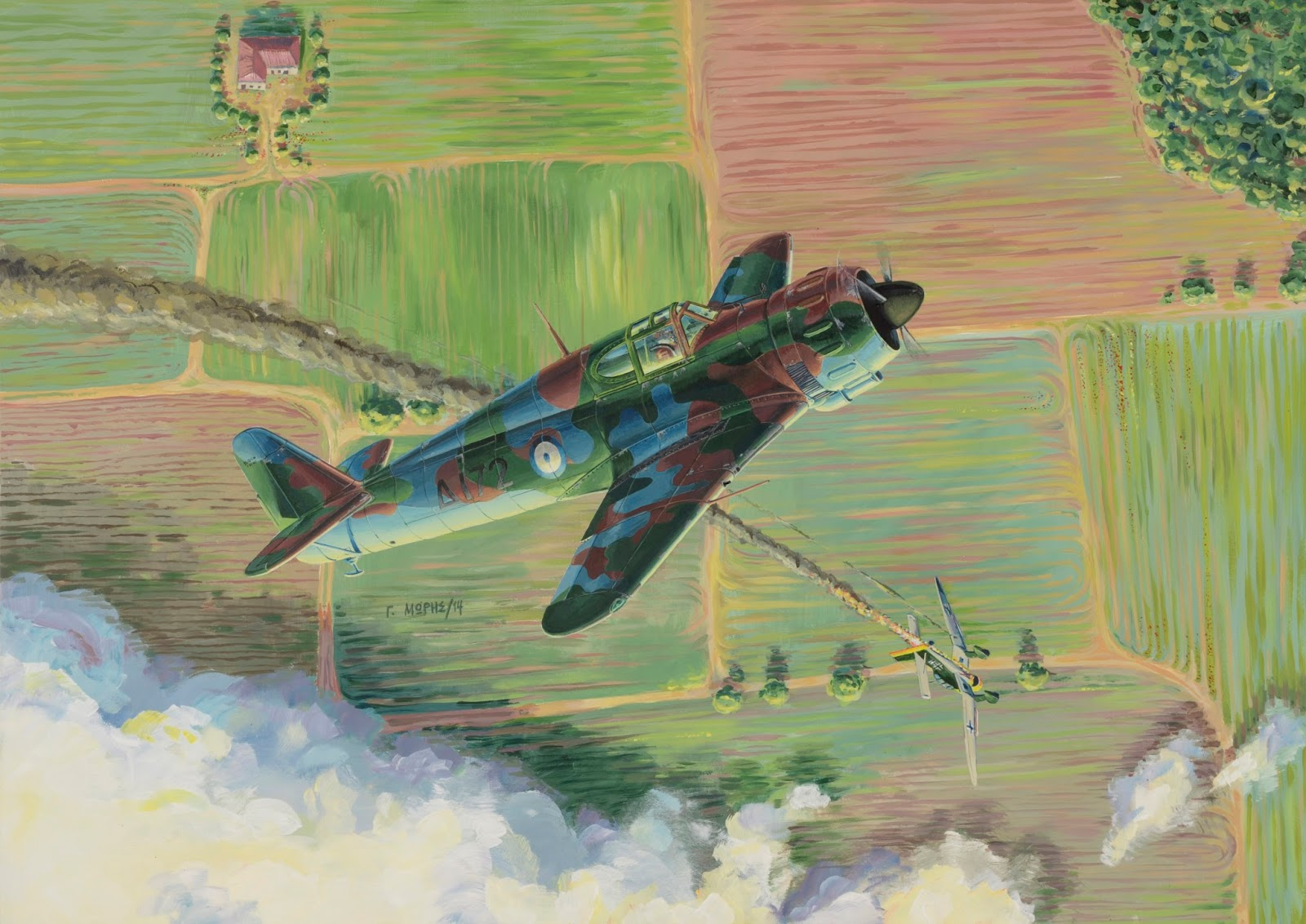 An impressive painting by talented aviation artist George Moris, depicting the last dogfight of the Royal Hellenic Air Force vs the Luftwaffe