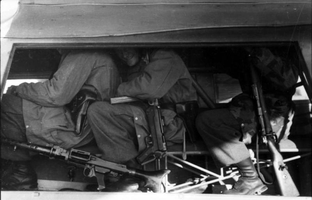 German paratroopers cramped inside a DFS-230 glider