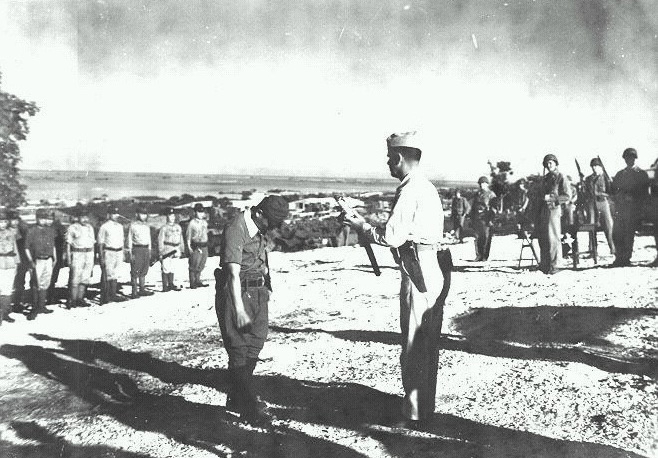 Ceremony on the spot where, on Dec. 1, 1945, Oba surrendered to the U.S. forces — a after keeping up his resistance with his men for 512 days.