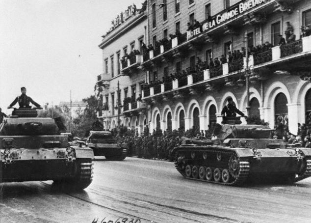 Athens, Greece --- Original caption: 5/27/41-Athens, Greece: German tanks rumbling through the historic streets of the Greek capital as the conquering soldiers stage a victory parade in honor of field marshal List, who commanded the campaign against Greece. Passed by German censor. --- Image by © Bettmann/CORBIS