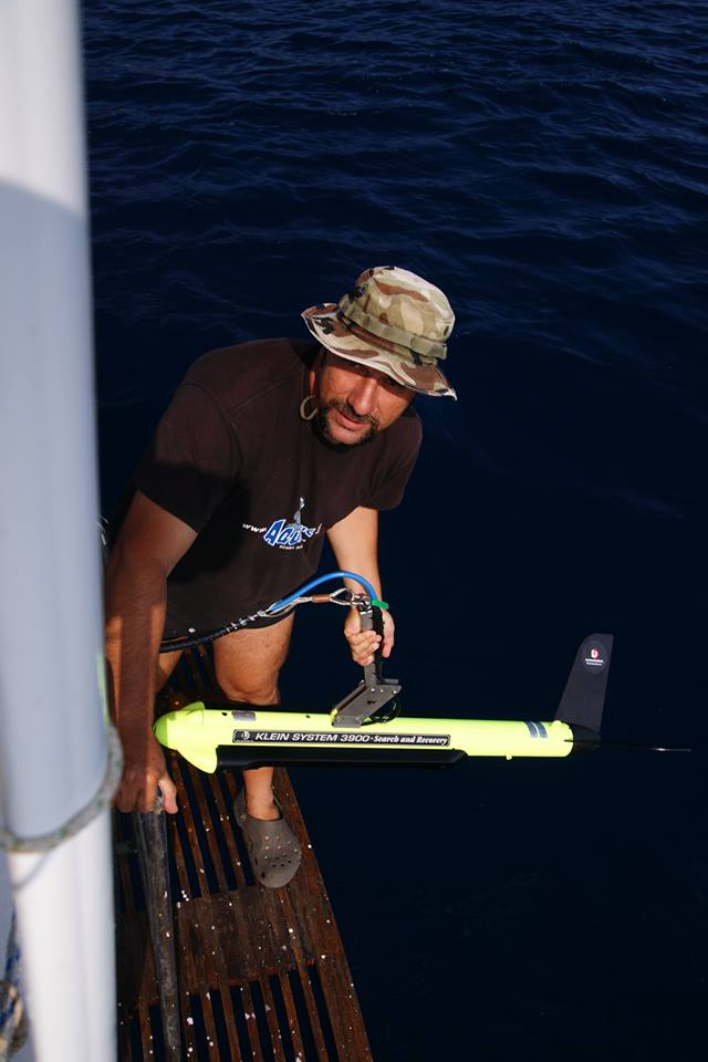 Makis Sotiropoulos with his sonar equipment