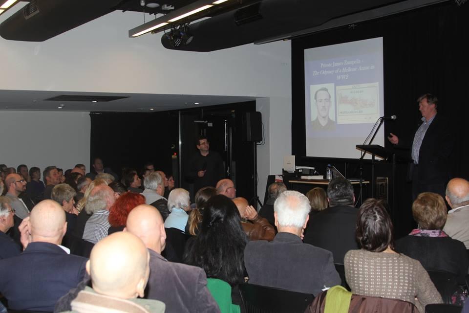 Jim Claven during a presentation on James Zampelis