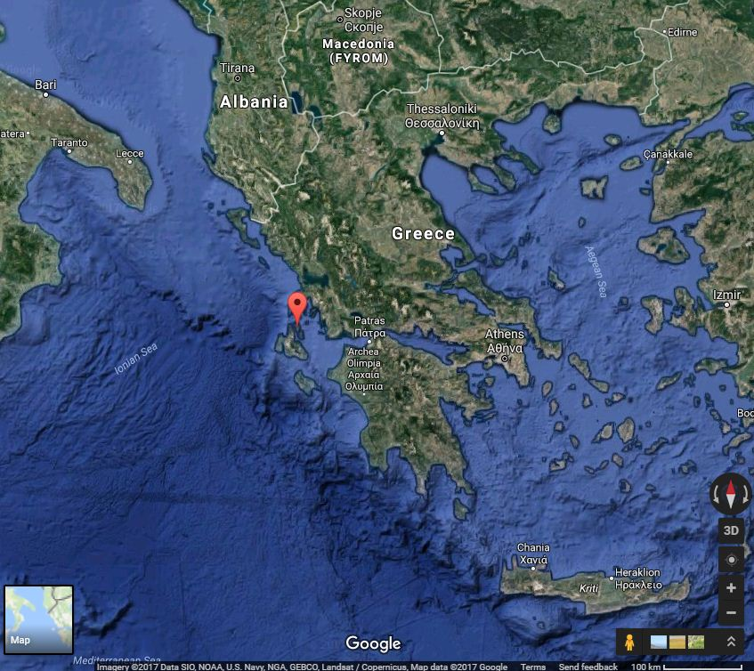 Location of the aircraft wreck in Ithaki island, Greece