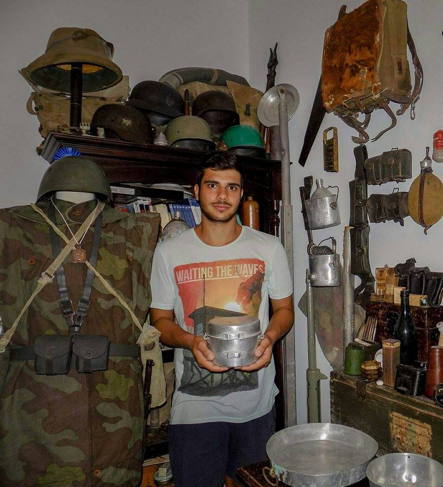 Panagiotis Mprokos with part of his WW2 relics from Rodos island.