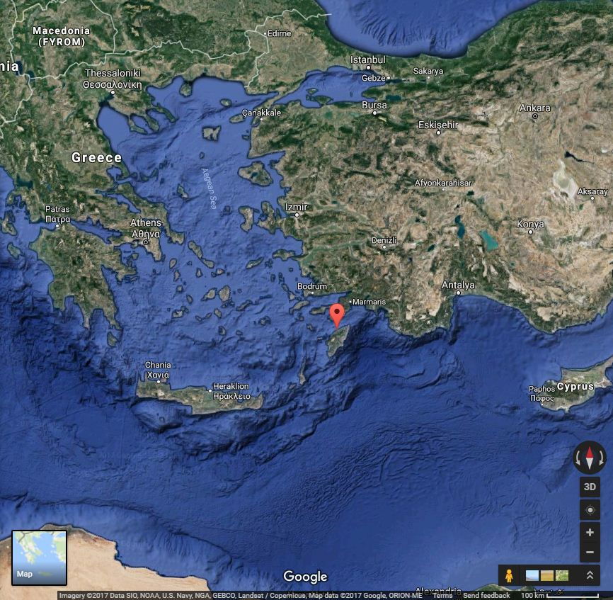 Location of Kalavarda village in Rodos island, Greece