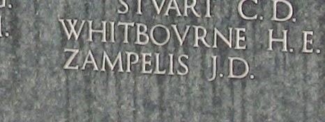 Το όνομα του James Zampelis στο Συμμαχικό Νεκροταφείο στο Φάληρο