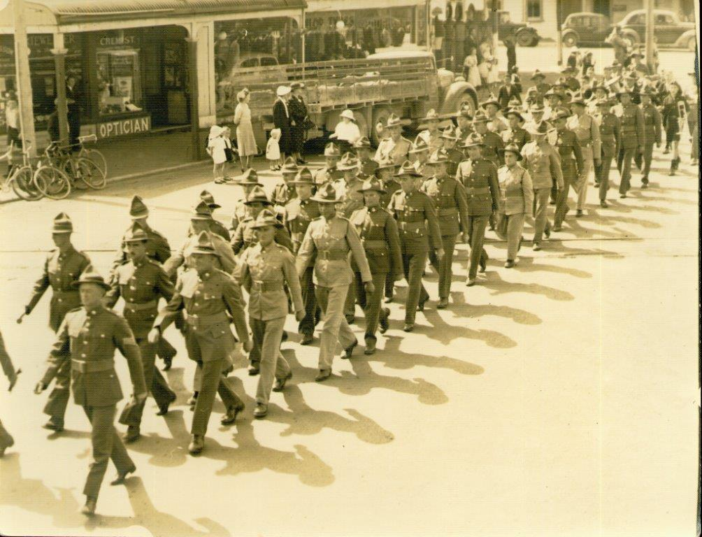 Marching on the day they left Dargaville to go to war- my Uncle 2nd in front row - this is the last time I ever saw him as I was only 6 years old at the time