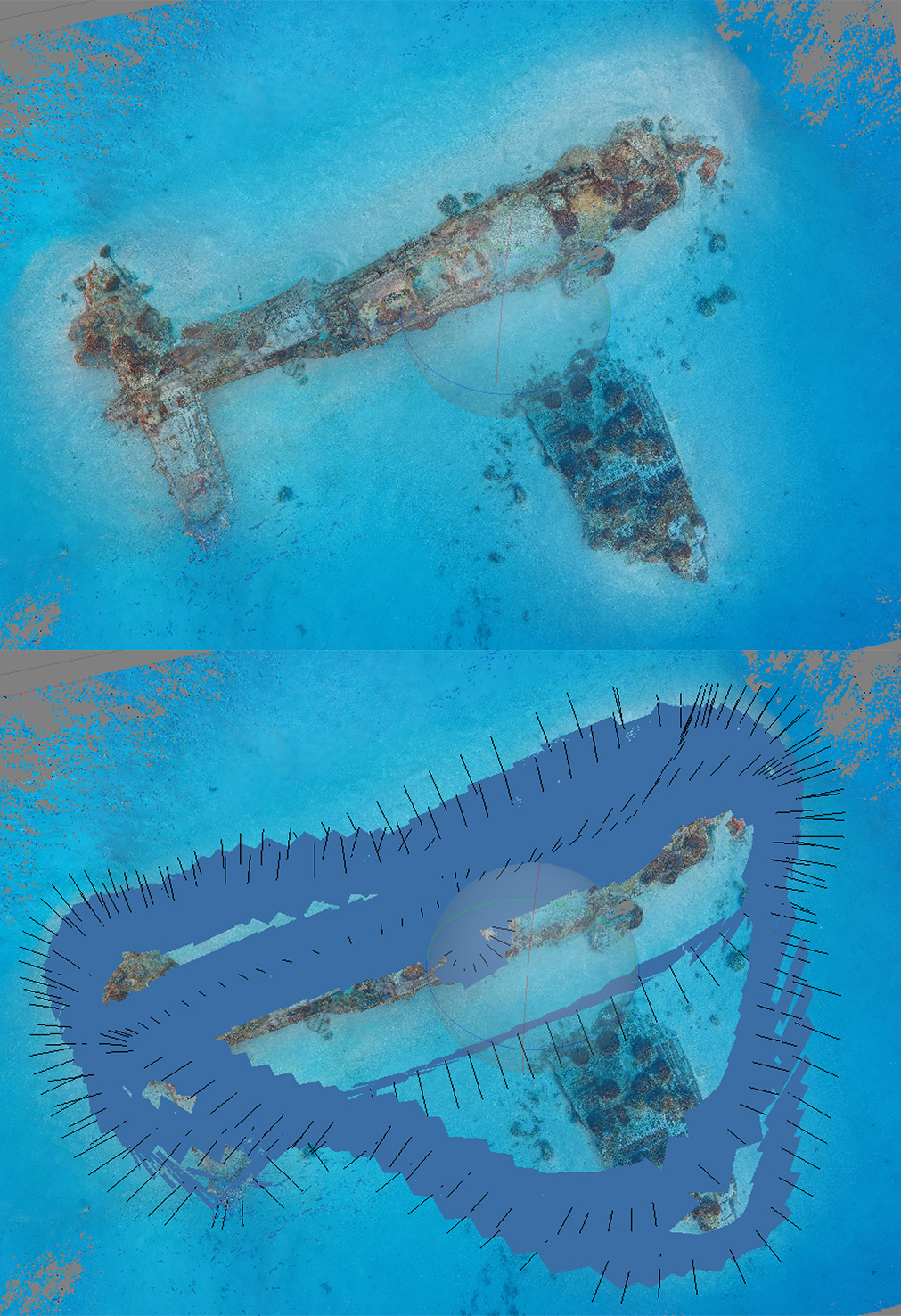 Top view of a model of a Corsair, compared with model showing camera locations.