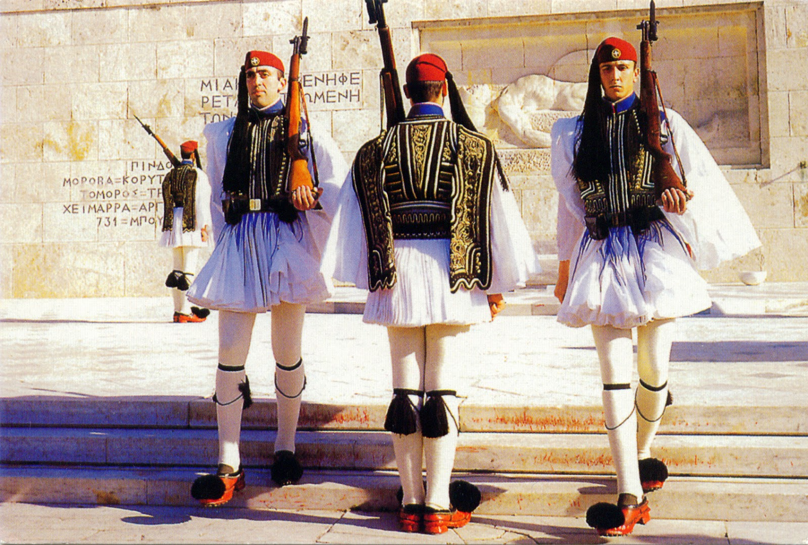 Evzones at the tomb of the unknown soldier in Athens