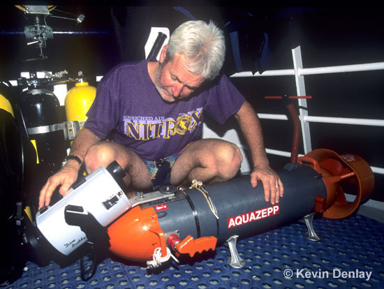 Kevin Denlay preparing an Aquazepp n Aquazepp scooter for filming USS Atlanta 1996