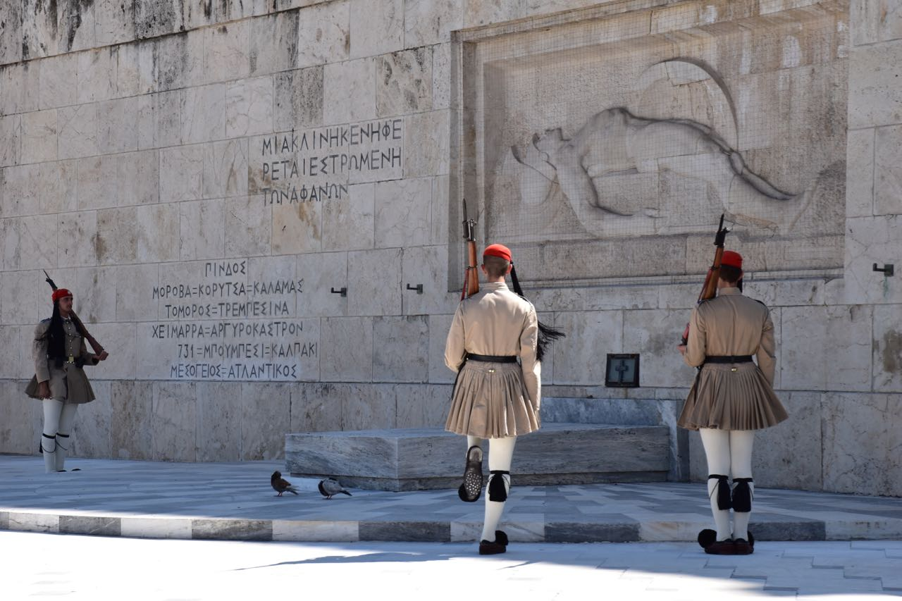 Evzones in Summer uniform at the Tomb of the Unknown Soldier, Athens