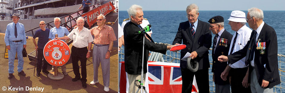 Left, Kevin and HMS Exeter surviving veterans – Jakarta, Indonesia, 2008. Right, the British Navy Ensign flown on the wreck of HMS Exeter during the 2007 discovery dives being handed to Exeter veterans by Kevin aboard HMS Kent, Java Sea, 2008. Photo Crown Copyright