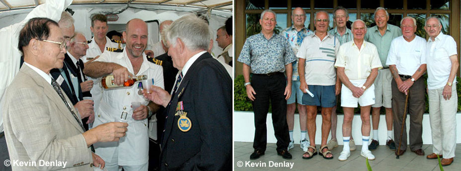 Left. Old enemies, new friends - a tot of rum being poured by a current British Navy Officer 'for new time's sake' between British and Japanese veterans from the sinking of HIJMS Haguro, Penang, 2005. Right. Kevin with veterans of the British 26th Destroyer Flotilla (that sank Haguro) at the reunion in Penang, Malaysia, 2005