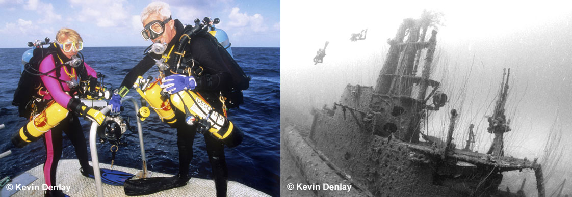 Kevin and Mirja Denlay, Bikini Atoll, 1996. Look who gets to carry the cameras!  Right, two divers descend on the ghostly remains of the submarine USS Pilotfish, sunk by the underwater 'Baker' blast, one the two 23 kiloton atomic tests (the other an air burst code named 'Able'), conducted by the USA at Bikini Atoll in 1946 and known as Operation Crossroads