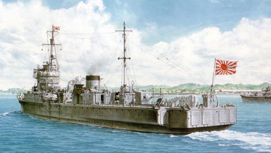 A painting of the large Japanese minelayer HIJMS Itsukushima by the Japanese artist T Yuki. Note the odd stern shape and the multiple 'doors' across the stern from which mines were laid