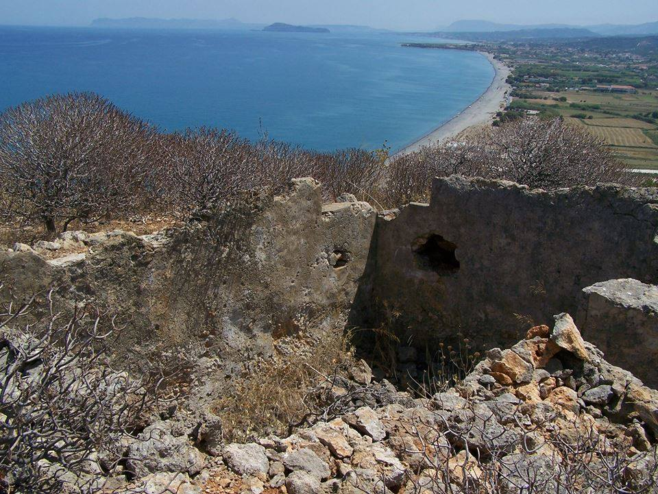The position of the observation and command post, overlooking Maleme airfield, with an unobstructed view to the sea.