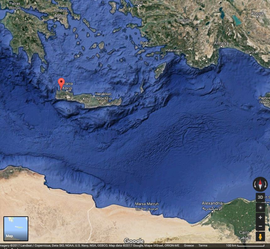Location of Kolymbari. The strategic importance of Crete, on the crossroads of Europe, Africa and Asia is evident.