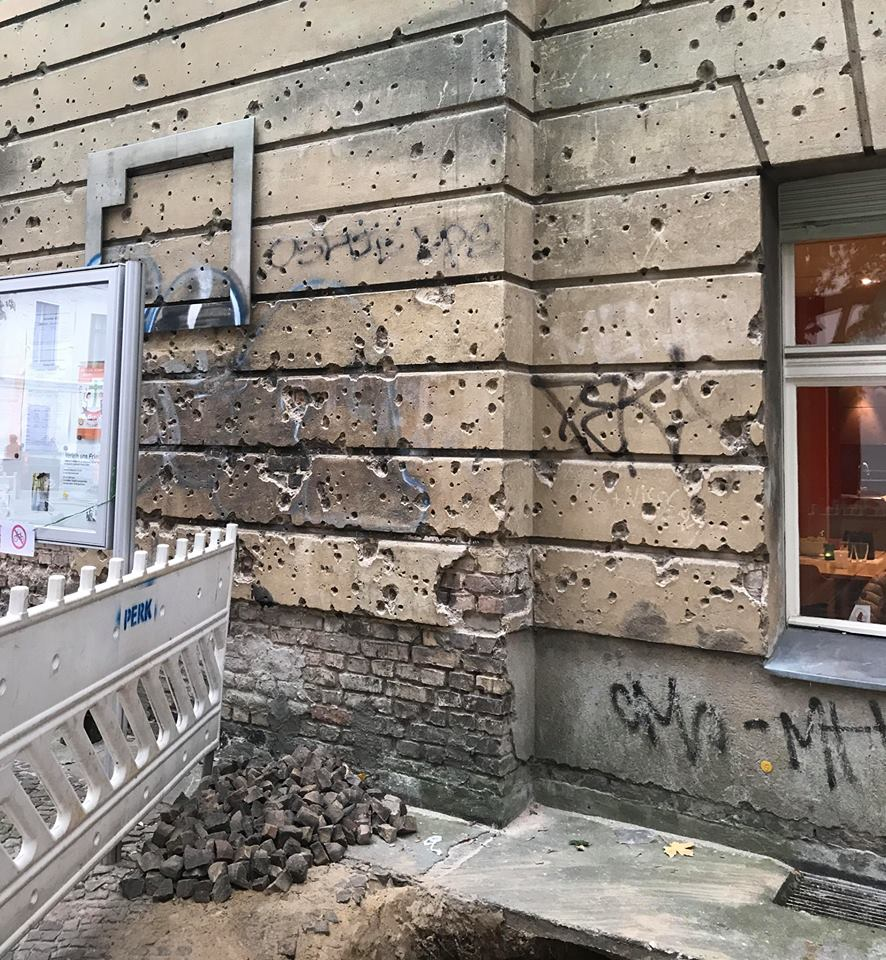 This building clearly shows the violence of the close quarter combat that took place in Berlin and gives a hint of what a lot of the city looked like in May 1945. It's so clearly defined that it could have happened yesterday. Sadly this time capsule is slowly being replastered so if you want to see it get there soon.