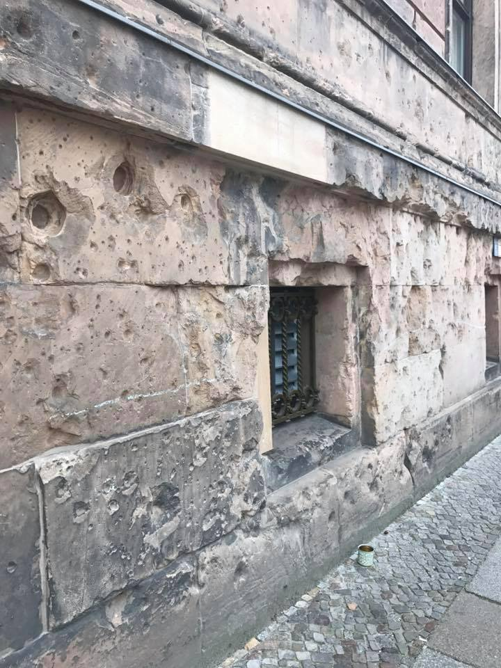 Peppered with bullet holes, this basement has seen destruction in 1945, yet survives to this day.