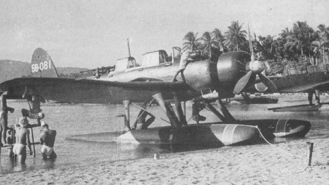 """An iconic photo of an Aichi-E13A """"jake"""" floatplane in the Pacific"""