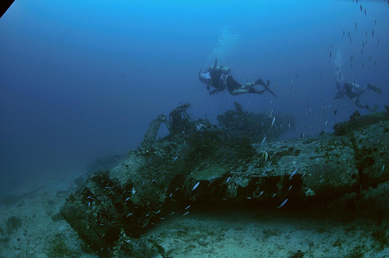 Bomb lying on the Jake #1 wreck
