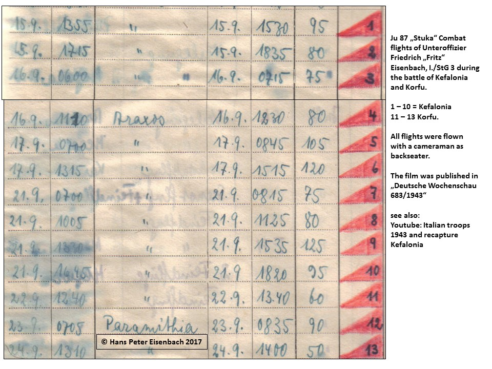 Page of Fritz Eisenbach's flight log book, with the missions over Kefalonia and Corfu in September 1943. COPYRIGHT: Hans Peter Eisenbach