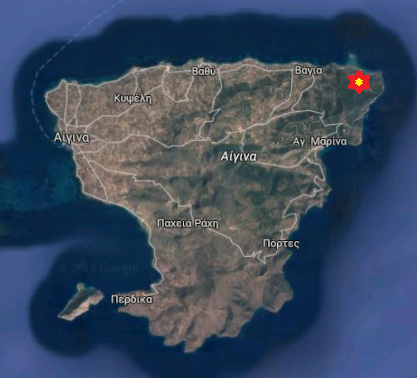 A google map of Aegina island with the 305mm naval gun bunkers at the northeastern tip (noted with a star).