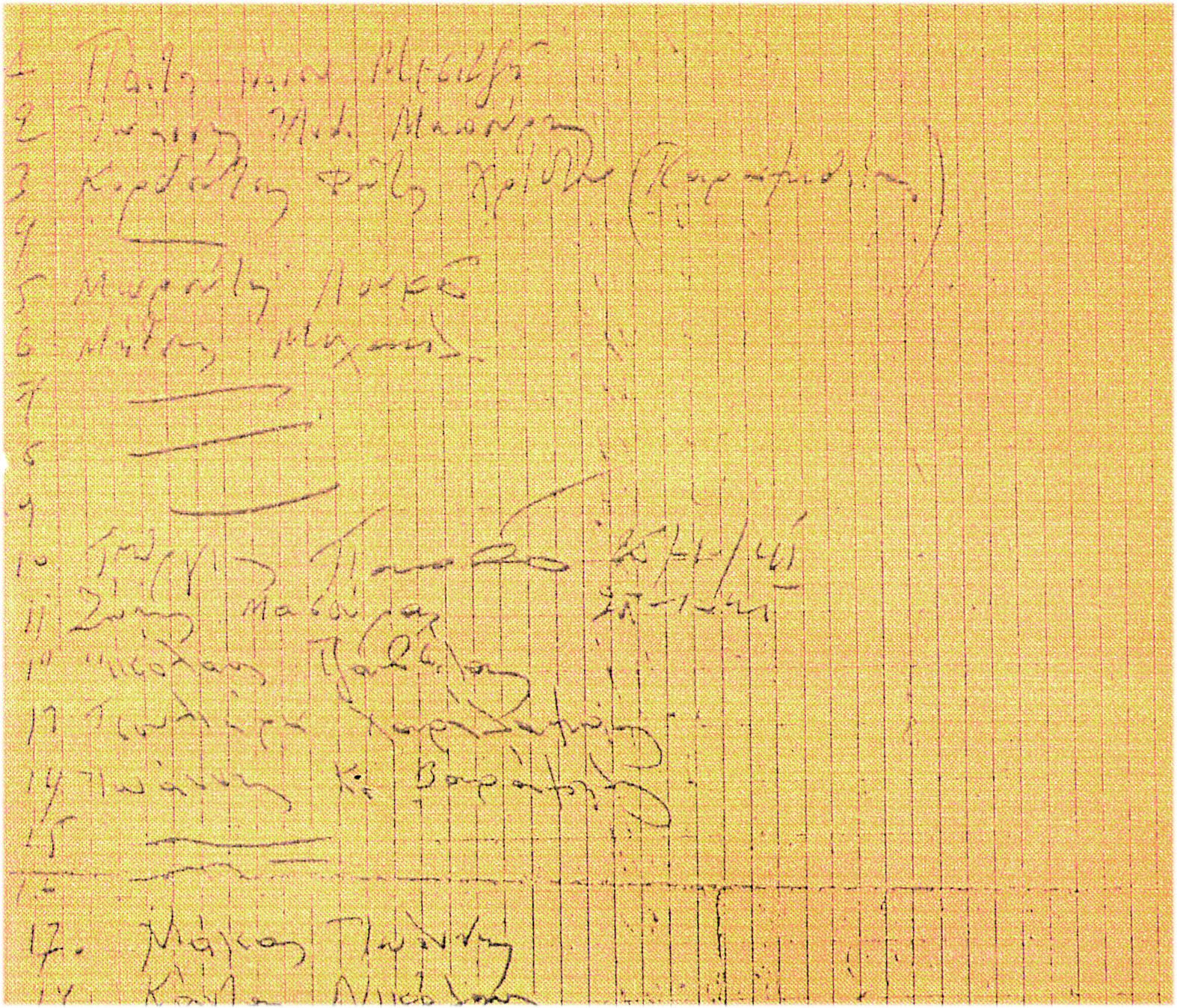 Τμήμα του πρόχειρου καταλόγου που τήρησαν οι κάτοικοι, όπου φαίνονται τα κενά με τα άγνωστα ονόματα
