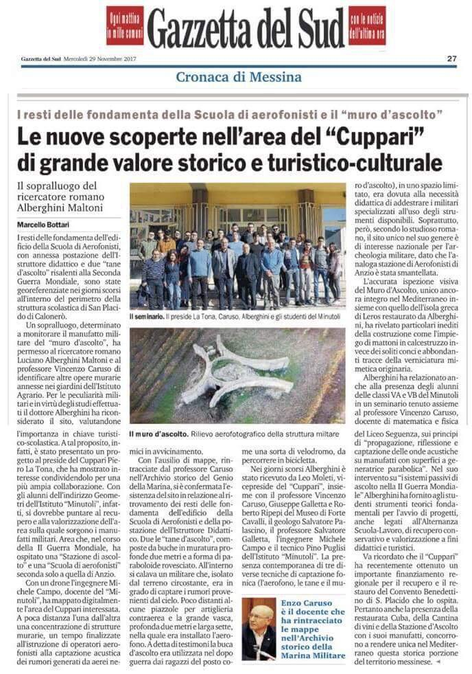 The Italian newspaper La Gazzetta del Sud did a full page article to the Messina Listening Wall