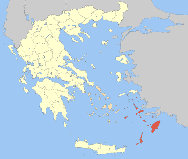 The Dodecanese Islands (in red) are on the strategic crossroads of Europe, Asia and the Middle East.