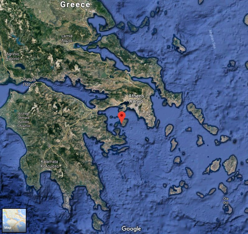 The bunker is located close to Perdika village, Aegina island