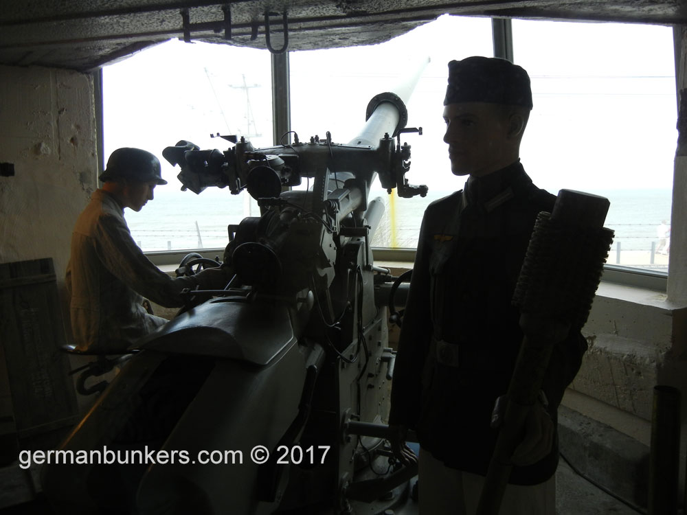 Two gunners at Batterie Tirpitz inside a 671 type bunker type
