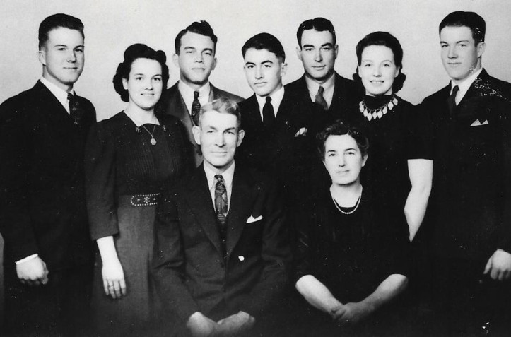 The Wilson family in 1941: Back: Danny Wilson, Darlene (Wilson) Scar, Donald Wilson, Junior Wilson (still in high school), Delbert Wilson, Doris Wilson, Dale Wilson (Darlene's twin). Seated: Clabe and Leora Wilson
