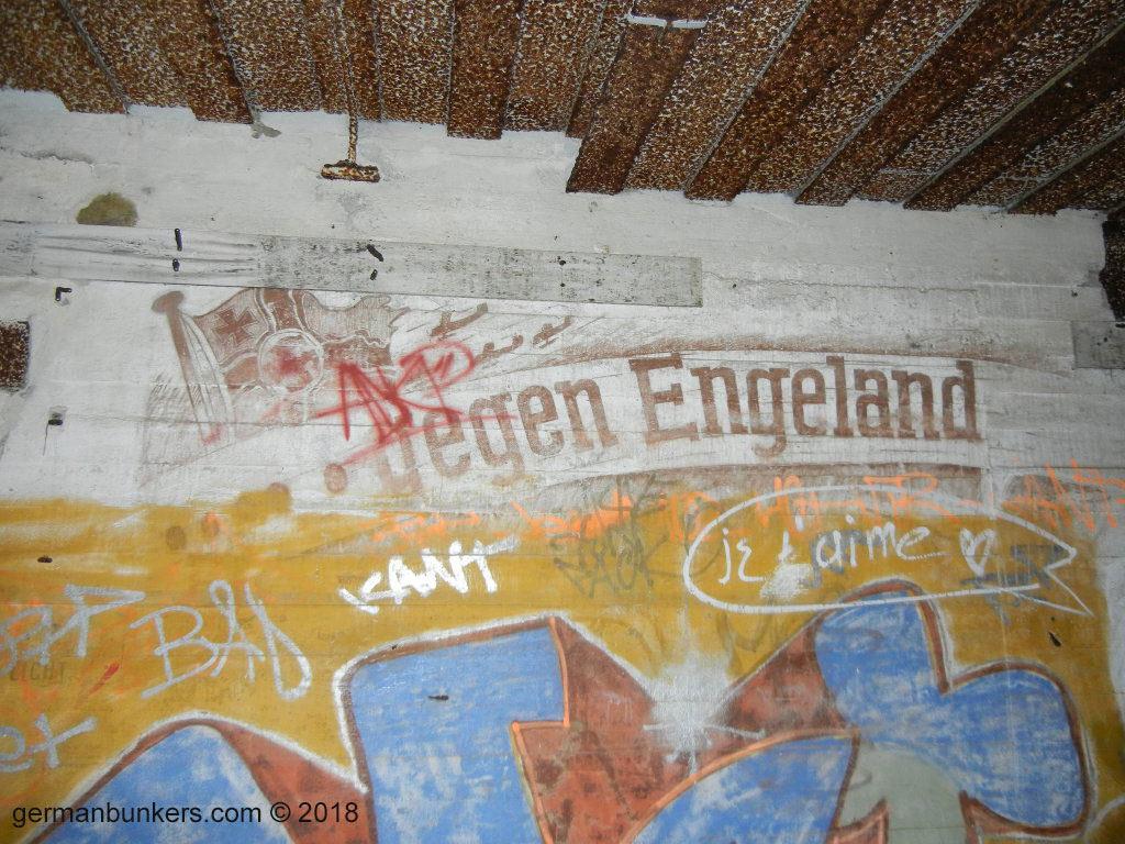 The inside of Turm 4 at the Batterie Todt in Audinghen, France. This is one of the frescoes that was destroyed in part by graffiti vandals, a great tragedy.
