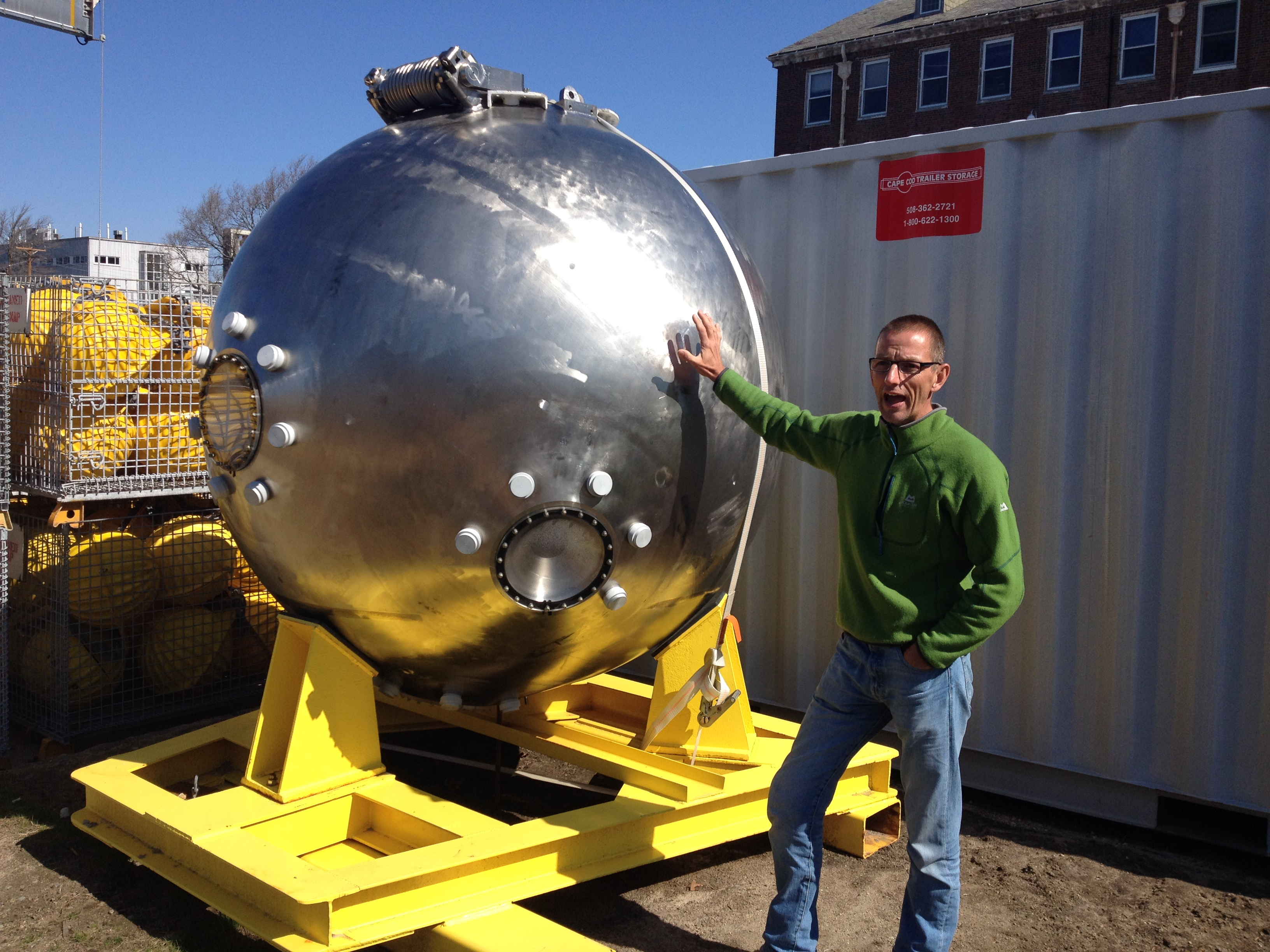 Phil Short standing next to the Alvin sphere, the minisub that located the Titanic's wreck