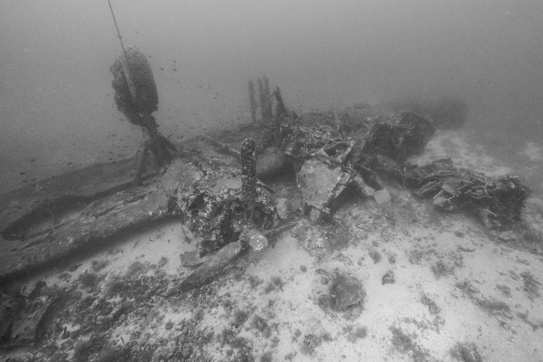 "The B-24J ""Tulsamerican"" wreck in Vis, Croatia. Photo by Brett Seymour"