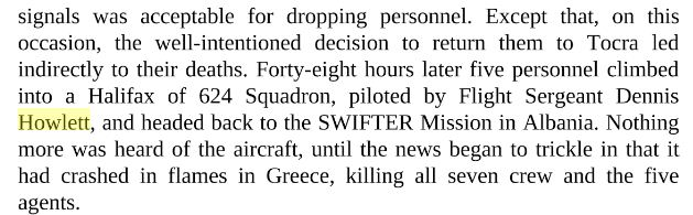 "Excerpt from the book ""A Special Duty"" by Jennifer Elkin, referring to the last flight of the Halifax"