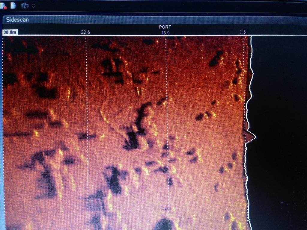 The sonar scan revealed the debris field of the crashed Beaufighter