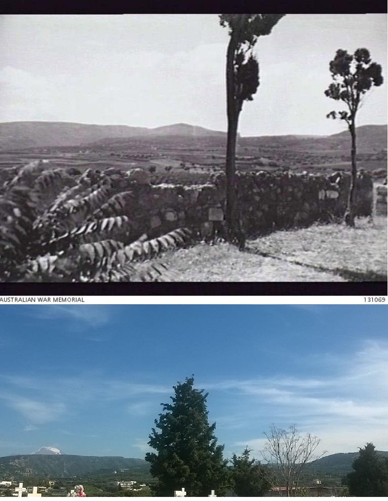 View from the courtyard of Agios Georgios church, 1941-2018