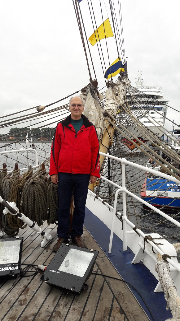 Dr. Peter Schenk on board the Cisne Branco, a Brazilian navy vessel