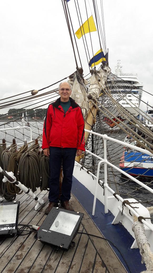 Dr. Peter Schenk on board the Cisne Branco, a Brazilian navy vessel