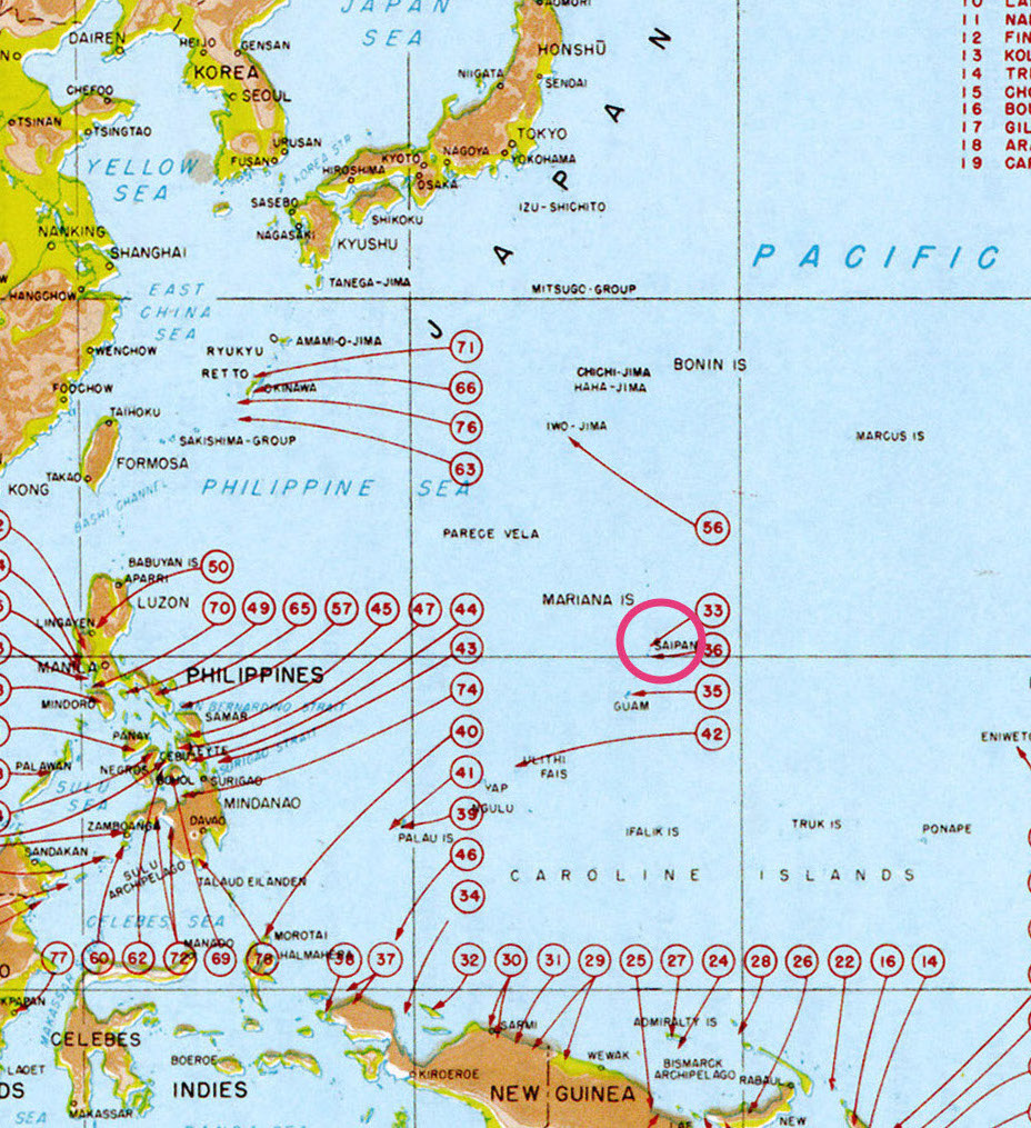 Map of U.S. landings, Saipan encircled