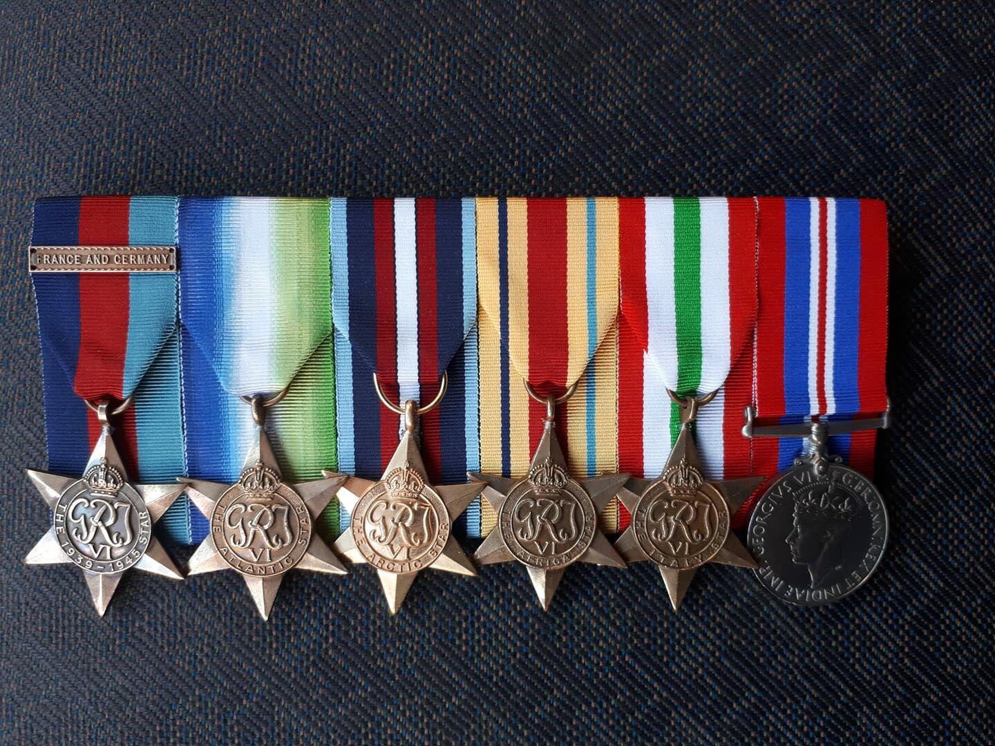 The medals Able Seaman Young earned for his service during WW2