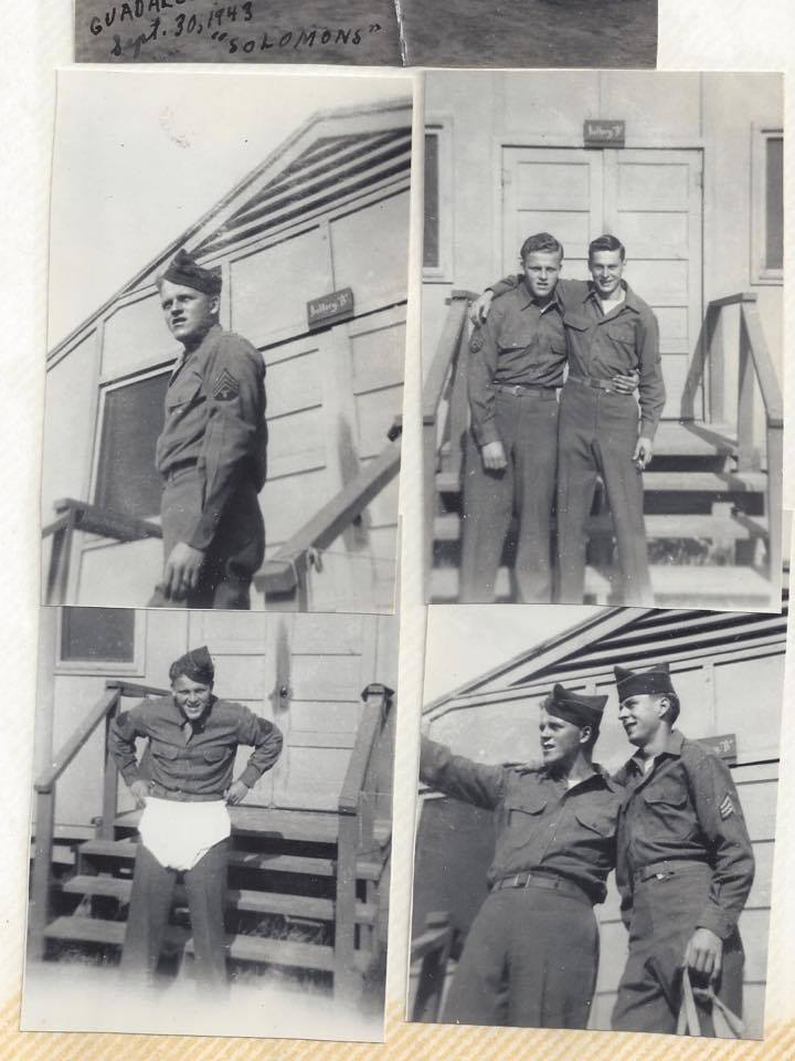 John Prehm (tank commander) and Otto Hesselbarth (driver) seen here before combat in Palau. Otto was killed within a few months of this photo being taken.