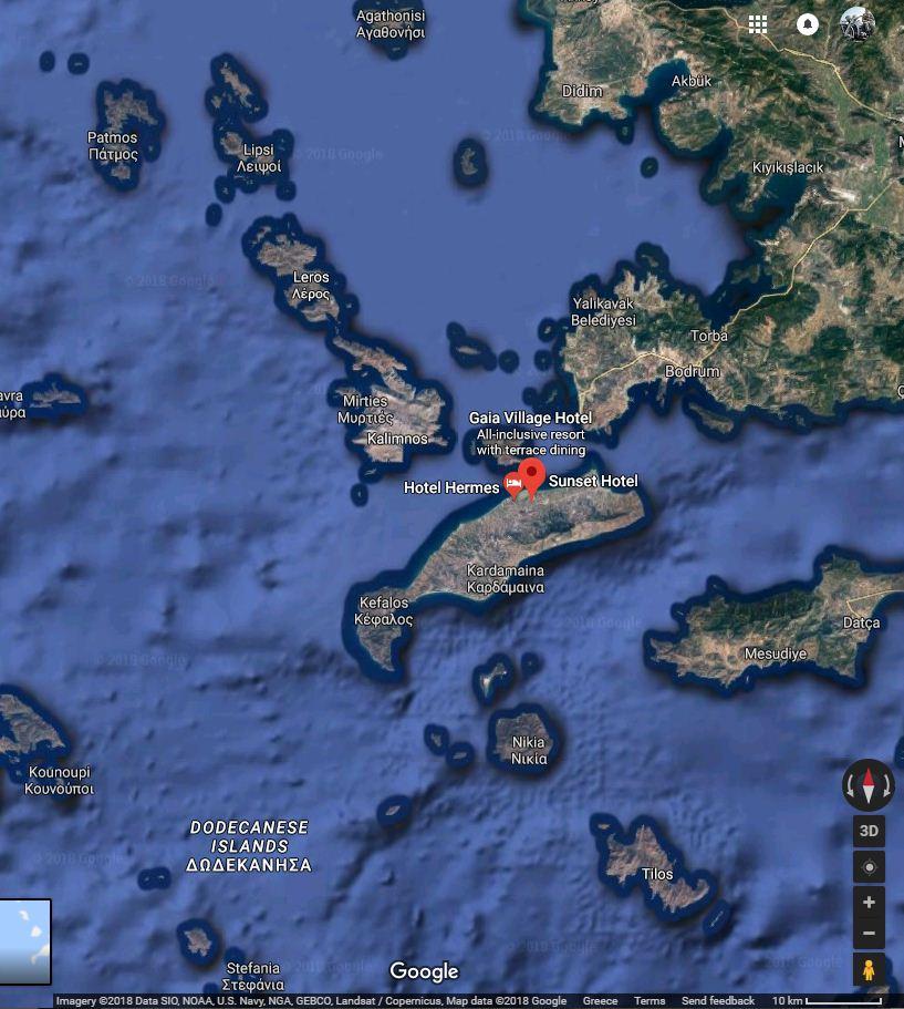 Kos island, Greece, where the Seafire crashed